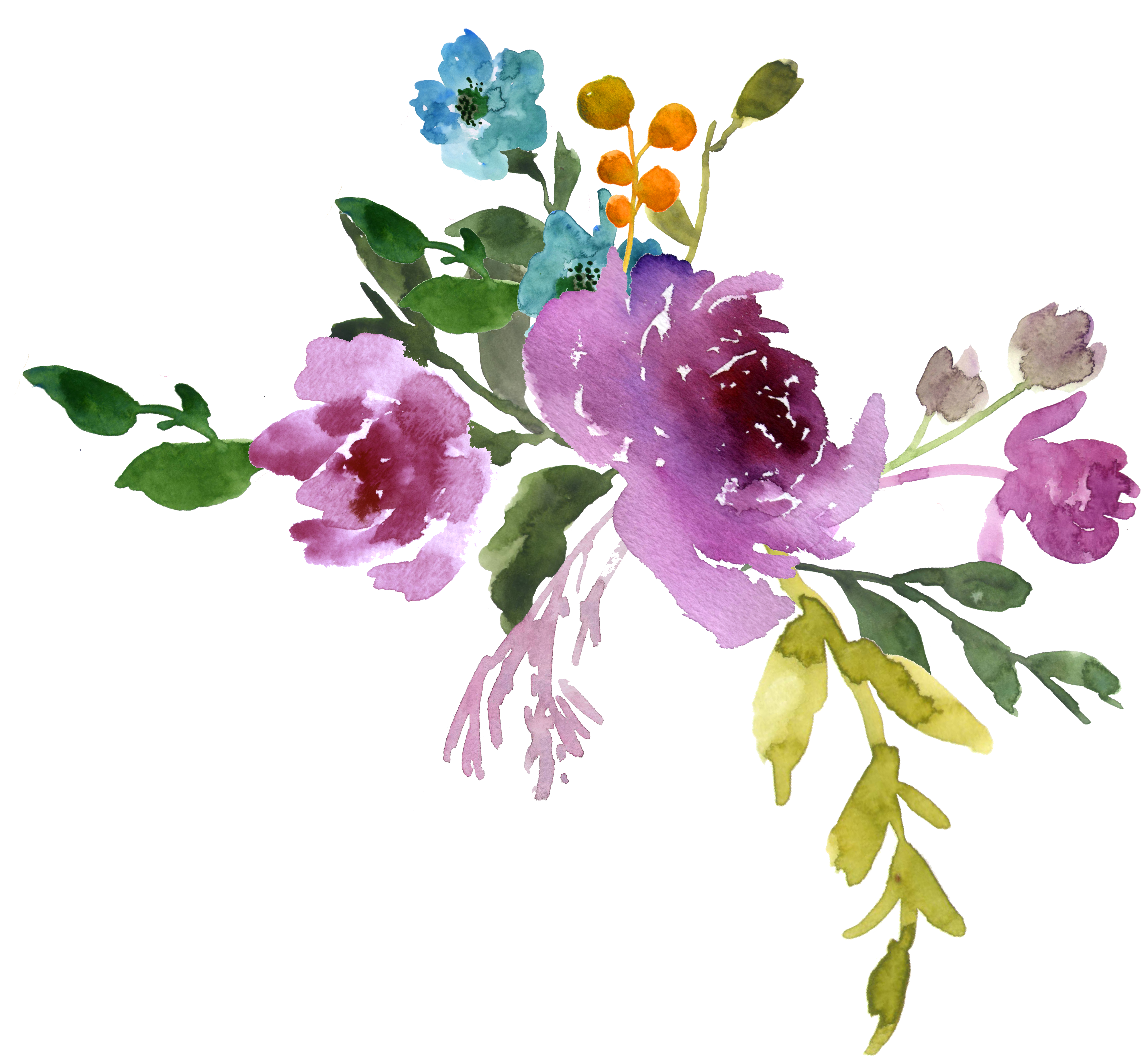 Purple Watercolor Flowers Png Thepix Info